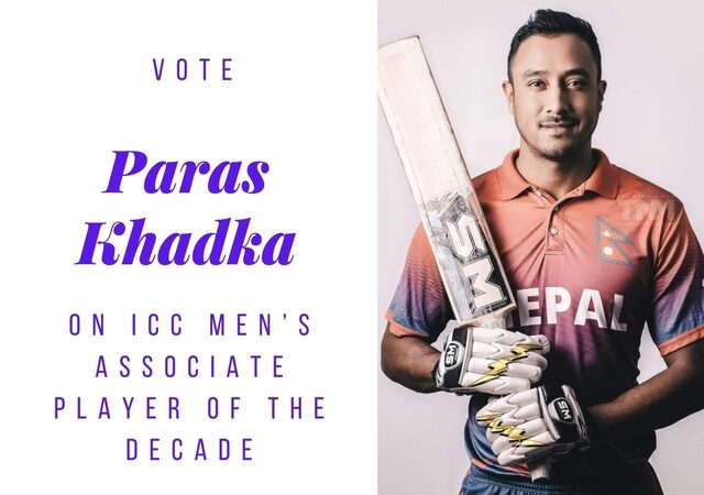 Vote Paras Khadka on ICC Men's Associate Player of the Decade
